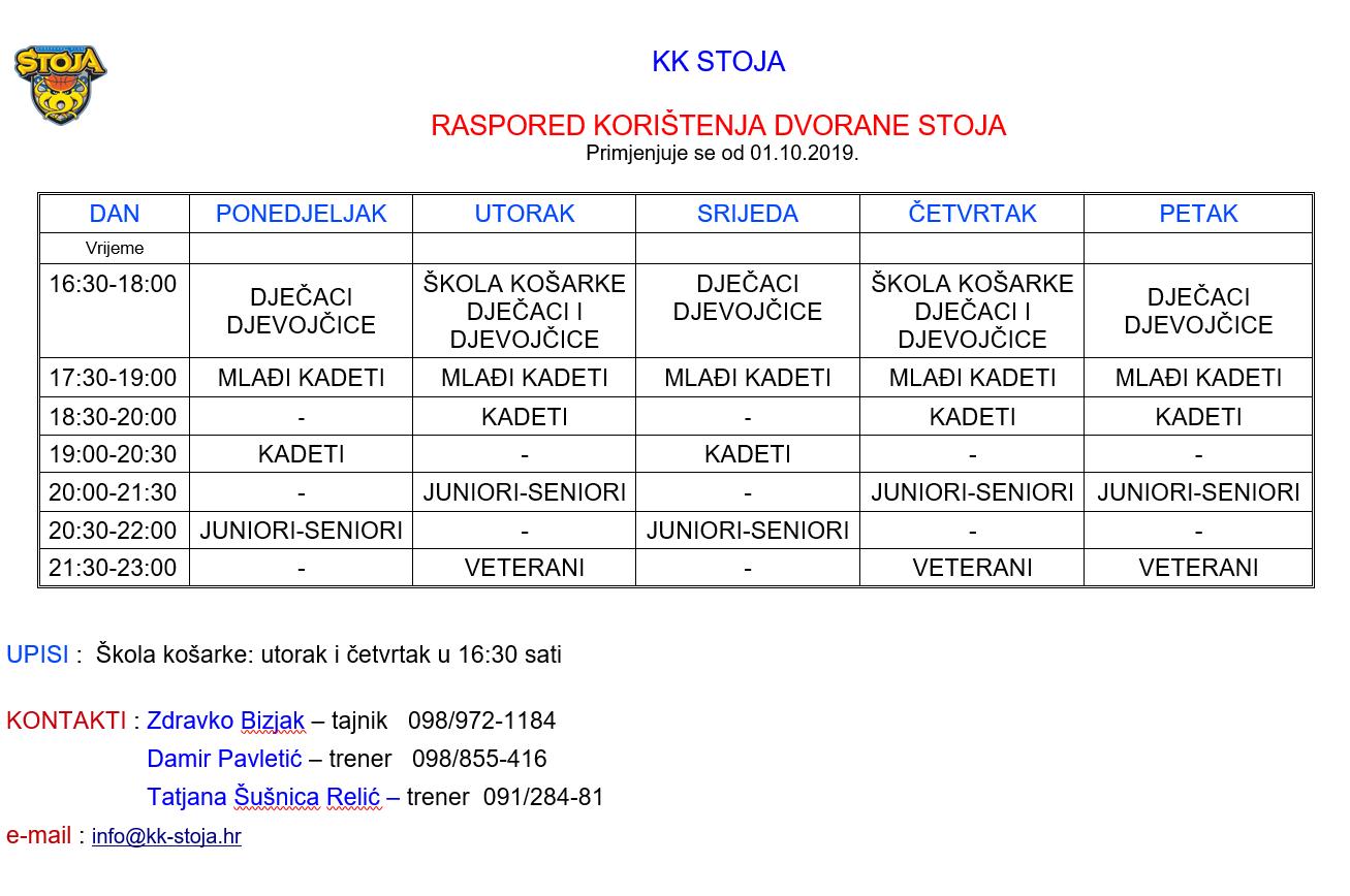 Raspored korištenja dvorane Stoja