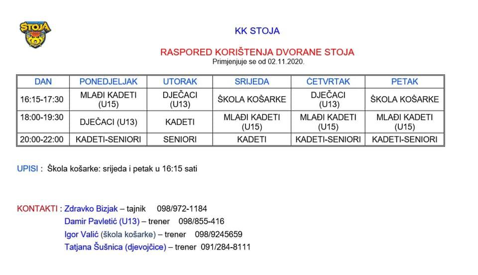Tablica s rasporedom korištenja dvorane KK Stoja